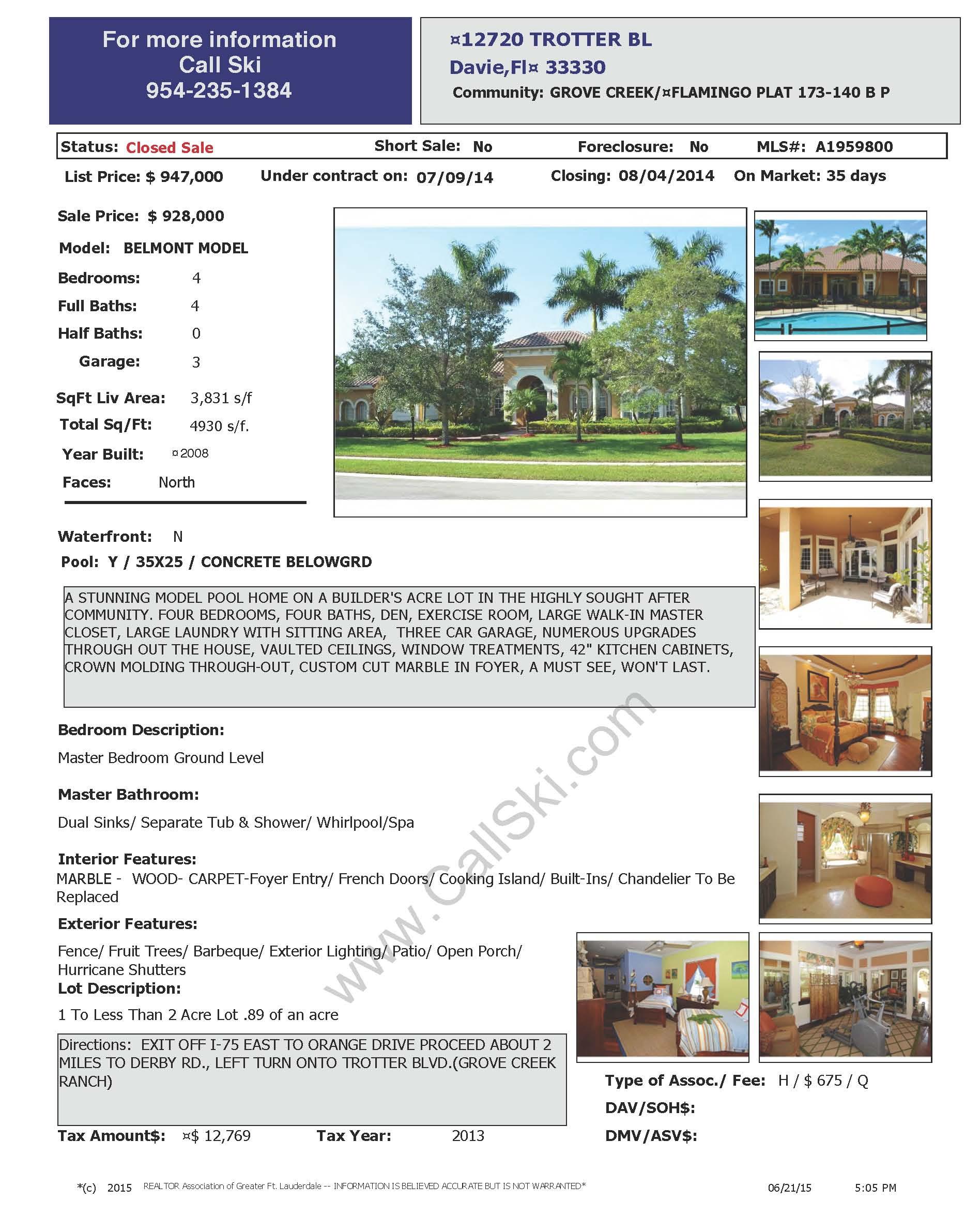 Sold Homes in Davie - Homes for sale in Davie   Ski Zielinski